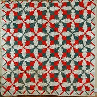 Small Scale 1880's Log Cabin Quilt, Zigzag Border