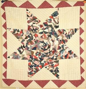 1880's Crazy Star Quilt, Sawtooth Border
