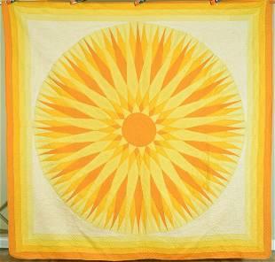 "Vibrant 30's Compass ""Rising Sun"" Quilt"
