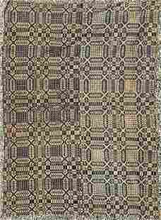 Early Jacquard Coverlet Ex Smithsonian
