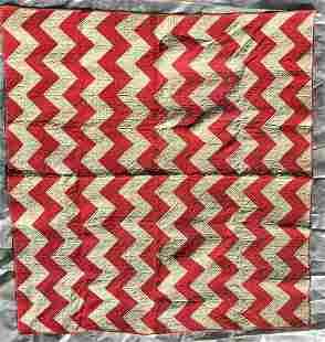 Red & White Zig- ag Quilt 19c