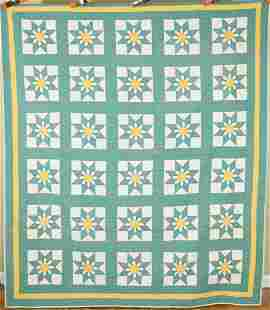 Well Quilted 30's Star Flower Quilt