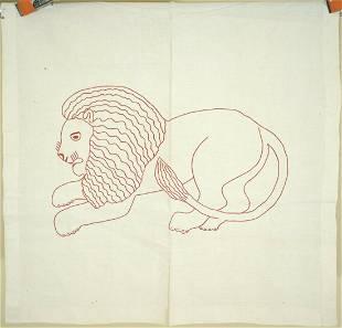 1880's Redwork Lion Pillow Sham