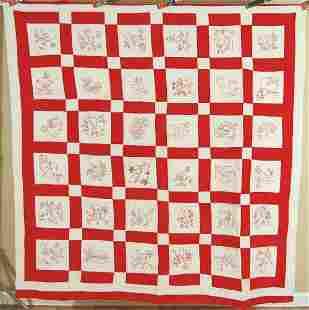 20's Redwork Quilt, Birds & Flowers