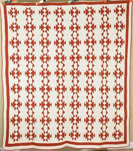 Vibrant 1870's Red & White Fox & Geese Quilt