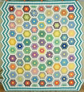 Large 40's Flower Garden Quilt, 4 Borders