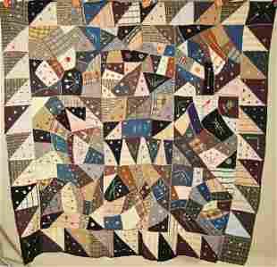 Wool Crazy Quilt, Sawtooth Border, D. 1909