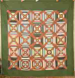 Large 1850's 25-Patch Quilt