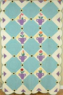 Well Quilted 30's Birds & Urns Quilt