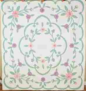 30's Deco Floral Applique Quilt