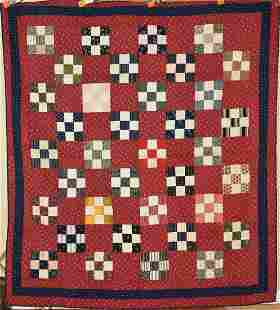 1880's 9-Patch Quilt, Vibrant Early Fabrics