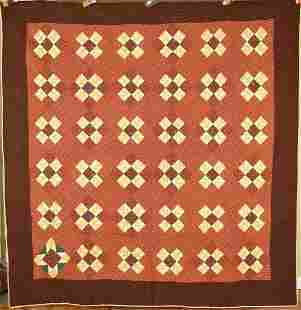 1870's Flying Geese Quilt, Copper Madder Prints