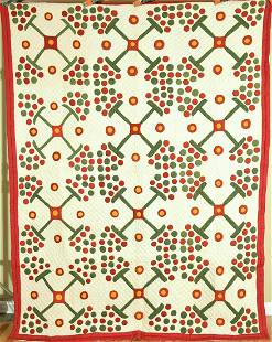 Red, Green & Cheddar Applique Quilt, Berries