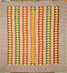 Vibrant Flying Geese Bars Quilt