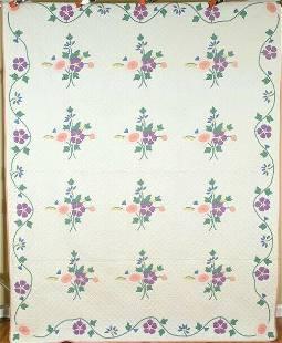 30's Floral Bouquet Applique Quilt