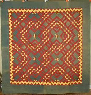 1880's PA Mennonite Carpenter's Square Quilt