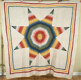 """Lone Star Quilt w/ Small Pieces, d. """"1913"""""""