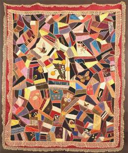 Antique Victorian Crazy Quilt, Silk and Velvet,