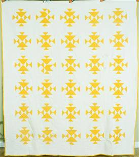 """1890's Cheddar """"Fox & Geese"""" Quilt"""