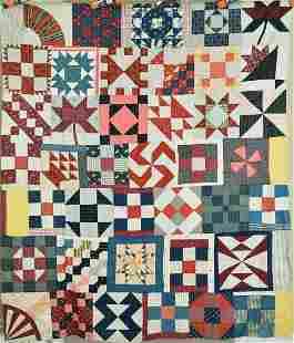 Outstandijng 1880's Sampler Quilt Top