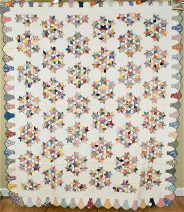 """30's """"7 Sisters"""" Stars Quilt, Small Pieces"""