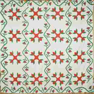1860's Red & Green Applique Quilt Top