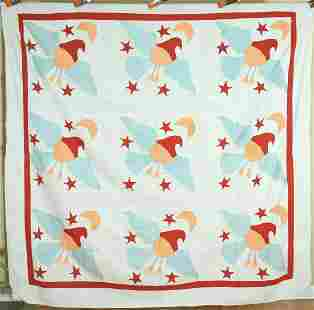 Rare 1910's Eagle, Stars & Moon Quilt Top