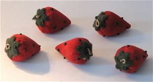 Group of five vintage strawberry emery's.