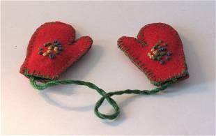 Tiny pair of fabric mittens