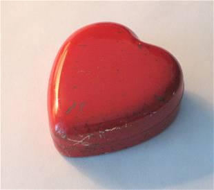 Tiny tin red heart pin holder.