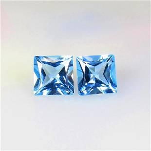 5.60 Ctw Natural Blue Topaz Princess Pair