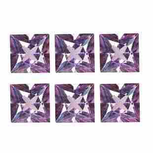 2.34Ct 6Pcs Lot Eye-popping Purple Princess cut 4 x 4