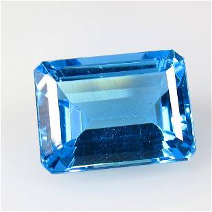16.18 Ctw Natural Blue Topaz Octagon Cut