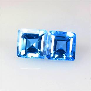 7.65 Ctw Natural Blue Topaz Octagon Pair