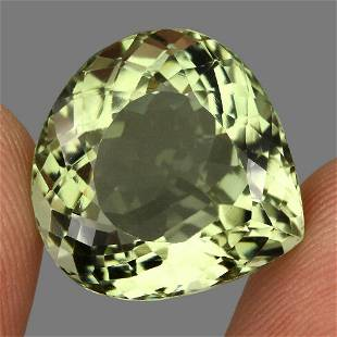 Clean 23.76ct 19mm Heart Cut Natural Top Rich Green