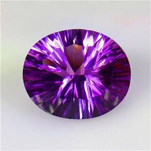 21.37 Ctw Natural Purple Amethyst Concave Cut