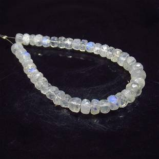 25.00 Ctw Natural 40 Drilled Blue Moonstone Round Beads