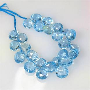 36.50 Ctw Natural 26 BLue Topaz Drilled Pear Beads