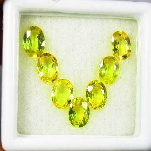 3.78 Ctw Natural 7 Ceylon Yellow Sapphire Oval Necklace