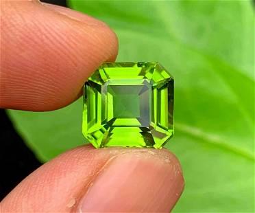 Top Color Asscher Cut Peridot Loose Gemstone From