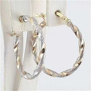 14K Yellow and White Gold - Earring
