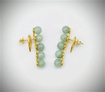 5 Round Jadeite Strand Earrings