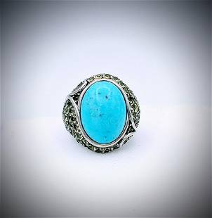 925 SS Turquoise and Pale Green Amethyst Ring Sz 7