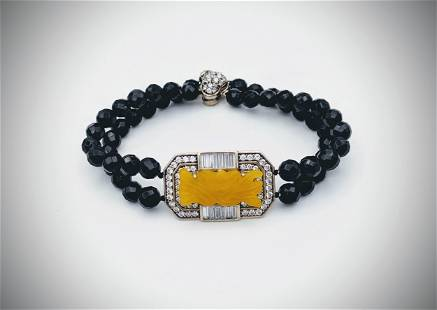 Beaded Black Faceted Stones Bracelet w Engraved Yellow