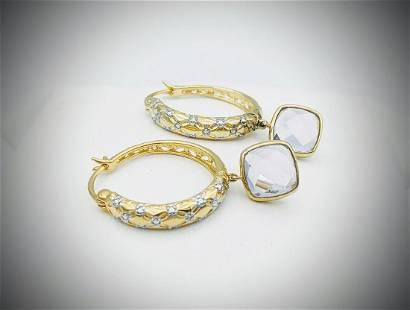 Diamond Earrings w Dangly Hambergite