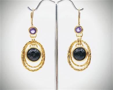Double Hoop Earrings w Amethyst & Black Faceted Stones