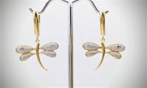 Dragonfly Earrings w Diamonds