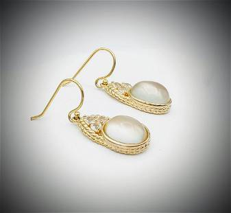 Gold Plated Moonstone and CZ Earrings