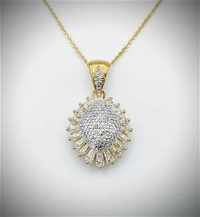 Gold Plated Necklace w Diamond & CZ Pendant