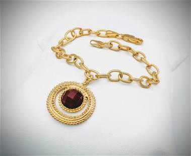 Italian Bracelet with Carnelian Pendant